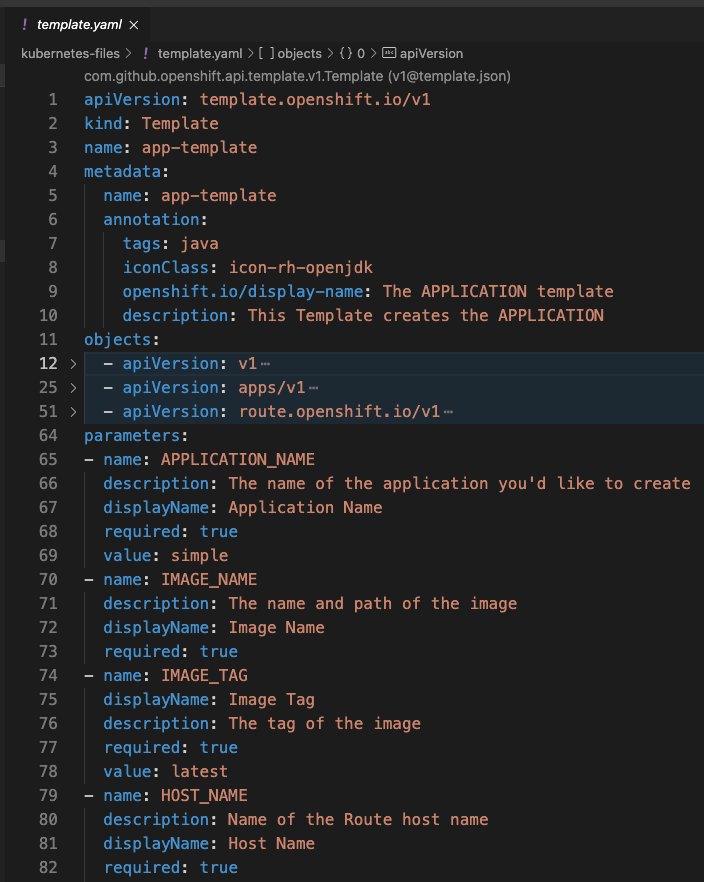 Image 2: An OpenShift Template file