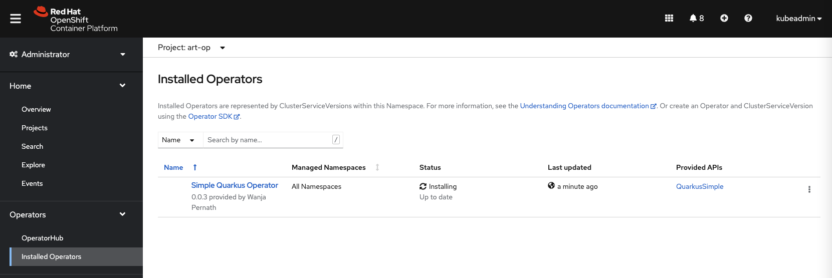 Image 11: The installed Operator in OpenShift UI