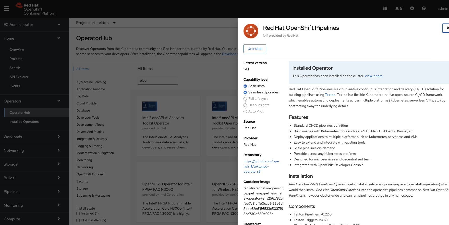 Image 1: Using the OpenShift UI to install OpenShift Pipelines operator
