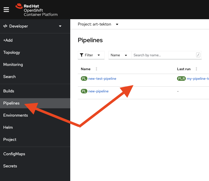 Image 2: New UI entries in the OpenShift GUI after you've installed the Pipelines Operator