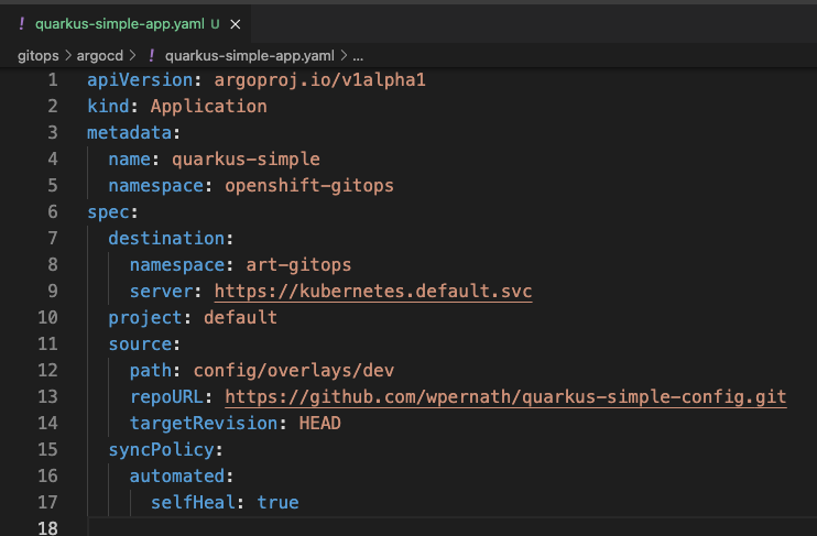 Image 5: Exported and cleaned up YAML file of the application object
