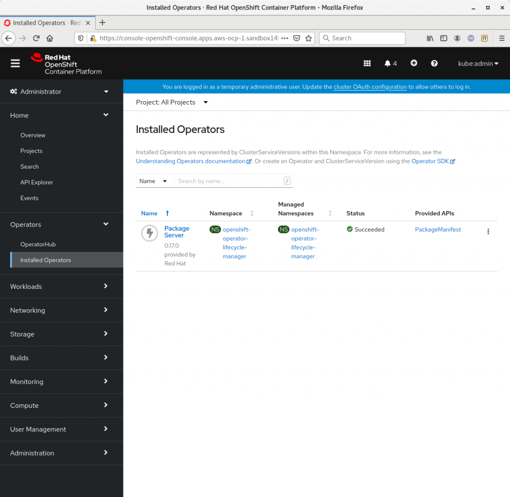 List of installed Operators in OpenShift